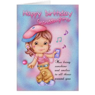 Granddaughter Happy Birthday Pink And Blue - Littl Greeting Card