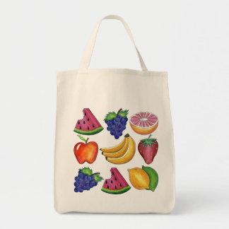 Grape Apple Banana Lemon Fruit Fruits Grocery Tote Grocery Tote Bag