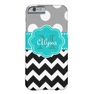 Gray and Black Chevron Teal Phone Case
