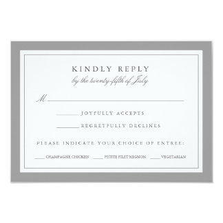 """Gray and White Wedding RSVP Card w/ Meal Choice 3.5"""" X 5"""" Invitation Card"""