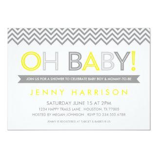"Gray and Yellow Modern Chevron Baby Shower 5"" X 7"" Invitation Card"