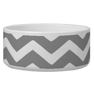 Gray Grey White Chevron Pattern Pet Food Bowls