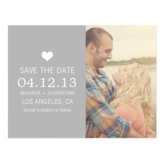 Gray Heart Photo Save The Date Post Cards