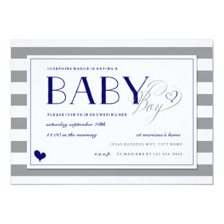 "Gray Stripe Baby Boy Shower and Navy Blue 5"" X 7"" Invitation Card"