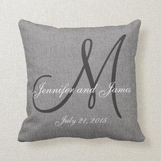 Gray White Linen Monogram Wedding Keepsake Pillows