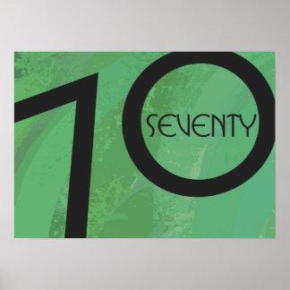 Green 70 Decade Birthday Poster
