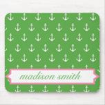Green and Pink Monogram Anchor Print Mousepad