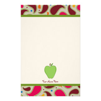 Green Apple & Paisley Personalized Teacher Stationery Design