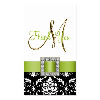 Green, Black White Damask Wedding Thank You Business Card