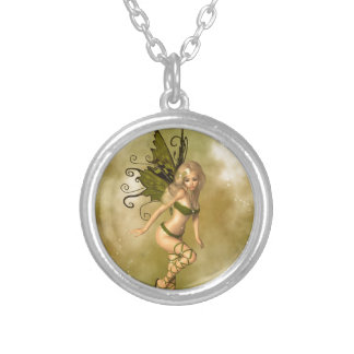 Green Fairy Round Pendant Necklace