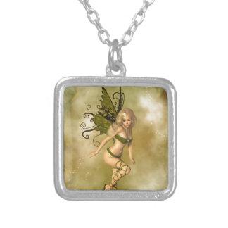 Green Fairy Square Pendant Necklace