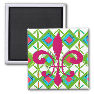 Green Flowers Abstract, Red Fleur De Lis Square Magnet
