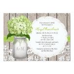 "Green Hydrangea Monogram Mason Jar Bridal Shower 5"" X 7"" Invitation Card"
