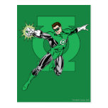 Green Lantern with Logo Background Postcard