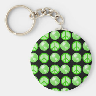 Green Peace Earth Bubbles Basic Round Button Keychain