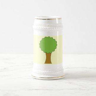 Green Tree. On cream background. 18 Oz Beer Stein