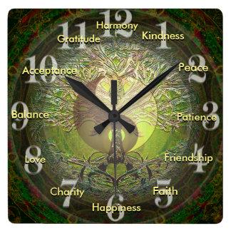 Green Yin Yang with Positive Words Wall Clocks