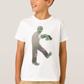 Green Zombie Walking Slowly with Arms Out in Front Tshirts