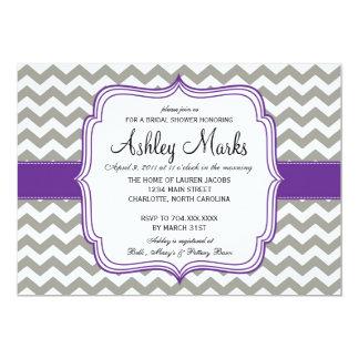 """Grey and Dark Purple Cheveron Invitaiton 5"""" X 7"""" Invitation Card"""