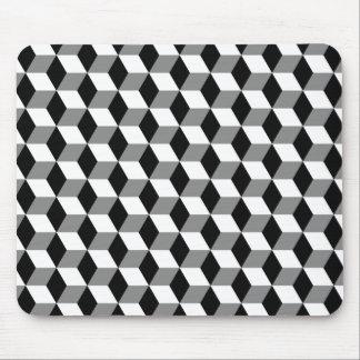 Grey, Black & White 3D Cubes Pattern Mouse Pad