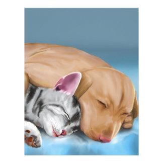 Grey Cat and Brown Dog Sleeping and Hugging Custom Letterhead
