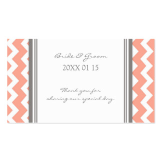Grey Coral Chevron Wedding Favor Tags Business Card