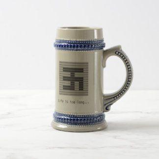 Grey Square - Life is too long... 18 Oz Beer Stein