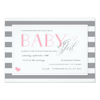 """Grey & White Stripe Baby Shower Light Pink Accents 5"""" X 7"""" Invitation Card"""
