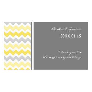 Grey Yellow Chevron Wedding Favor Tags Business Card