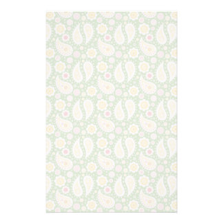 Groovy Yellow Paisley on Spring Green Custom Stationery