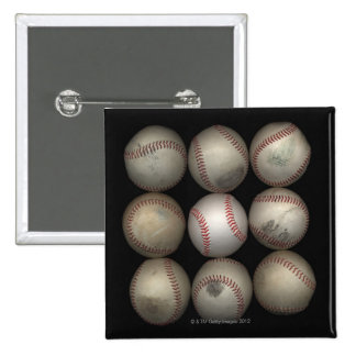 Group of old baseballs on black background 2 inch square button