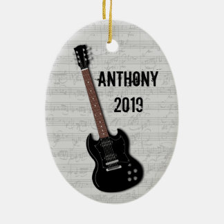 Guitar Photo Template on Back Ceramic Oval Ornament