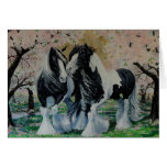 Gypsy Vanner Stallion/Mare horse cherry blossoms Greeting Card