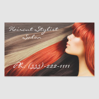 Haircut Stylist Colored Long Hair Design Sticker