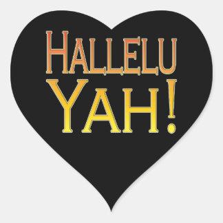 Hallelu Yah! (gold) Heart Sticker