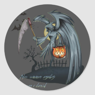 Halloween dead angel costume round sticker