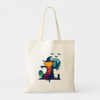 Halloween Scarecrow With Bats Crow And Owl Budget Tote Bag