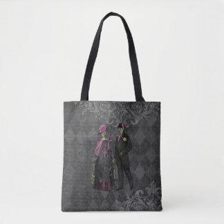 Halloween Skeleton Couple Tote Bag