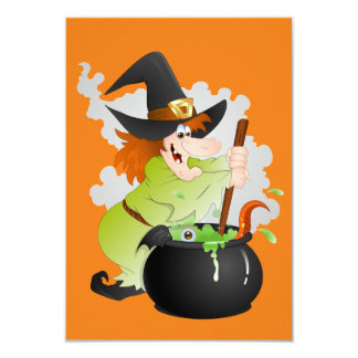 "Halloween Witch 3.5"" X 5"" Invitation Card"