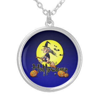 Halloween, witch on a broom, bats and pumpkins round pendant necklace