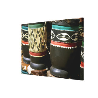 Hand carved drums, Livingston, Zambia Gallery Wrap Canvas