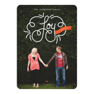 """hand lettered """"joy"""" full-bleed holiday photo cards 5"""" x 7"""" invitation card"""