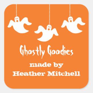 Hanging Ghosts Halloween Baking Stickers, Orange Square Sticker