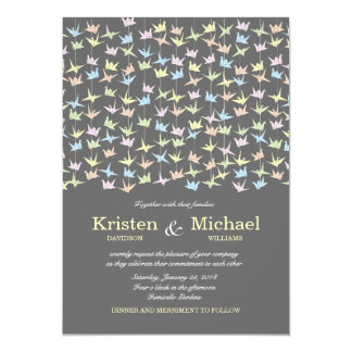 "Hanging Origami Paper Cranes (Pewter) Wedding 5"" X 7"" Invitation Card"