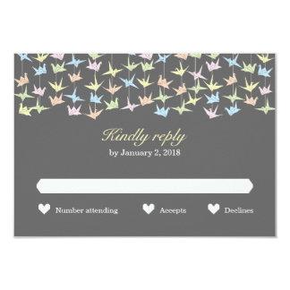 "Hanging Origami Paper Cranes (Pewter) Wedding RSVP 3.5"" X 5"" Invitation Card"