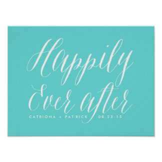 Happily Ever After Wedding Poster | Tiffany Blue