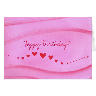 Happy Birthday, Wave of red hearts greeting cards