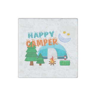 Happy Camper Cookout Stone Magnets