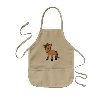 Happy Cute Brown Foal Little Horse Pony Colt Kids Apron