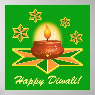 Happy Diwali with Lantern Poster